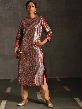 SANKATHA - Rust Vintage Benarasi Silk Brocade Quilted Kurta with Pockets