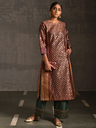 CHAUSATTHI - Maroon Vintage Benarasi Silk Brocade Quilted Kurta with Pockets