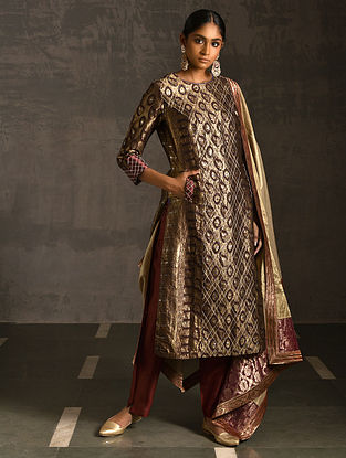 SITALA - Maroon Vintage Benarasi Silk Brocade Quilted Kurta with Pockets