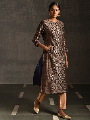 REWAN - Brown Vintage Benarasi Silk Brocade Quilted Kurta with Pockets