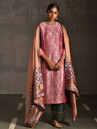 KHORI - Pink Vintage Benarasi Silk Brocade Quilted Kurta with Pockets