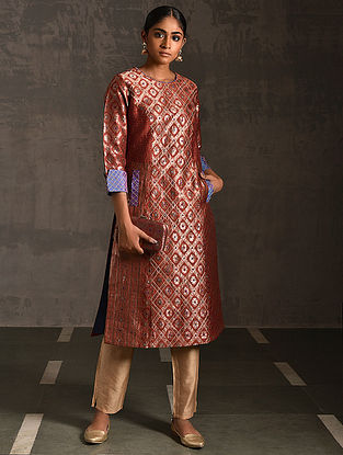 JATARA - Rust Vintage Benarasi Silk Brocade Quilted Kurta with Pockets