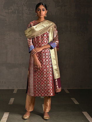 PANCHAGANGA - Rust Vintage Benarasi Silk Brocade Quilted Kurta with Pockets