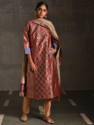 VENIMADHAVA - Rust Vintage Benarasi Silk Brocade Quilted Kurta with Pockets