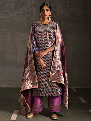 GAYA - Purple Vintage Benarasi Silk Brocade Quilted Kurta with Pockets