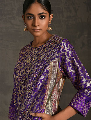 PRAYAG - Purple Vintage Benarasi Silk Brocade Quilted Kurta with Pockets