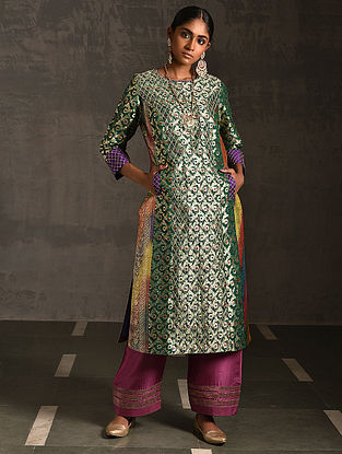 JANAKI - Green Vintage Benarasi Silk Brocade Quilted Kurta with Pockets