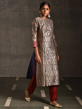 DURGA - Maroon Vintage Benarasi Silk Brocade Quilted Kurta with Pockets