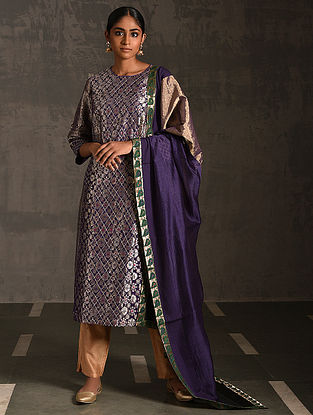 MANGALA GAURI - Purple Vintage Benarasi Silk Brocade Quilted Kurta with Pockets