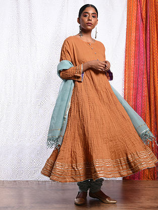 ZEENAT - Orange Cotton Mul Crinkled Kalidar Kurta with Gota