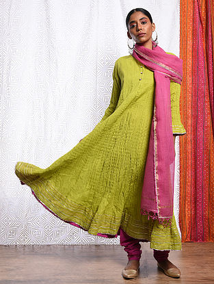 DILRAS BANU - Green Cotton Mul Crinkled Kalidar Kurta with Gota