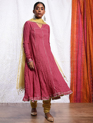 ROSHANARA - Pink Cotton Mul Crinkled Kalidar Kurta with Gota