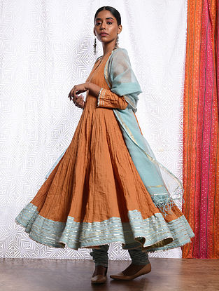 NUR JAHAN - Orange Cotton Mul Crinkled Kalidar Kurta with Gota