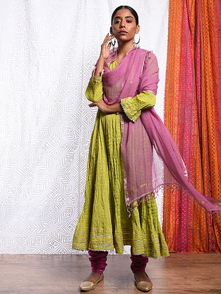 HAMIDA BANU - Pink Kota Cotton Dupatta with Gota