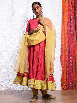 GULRUKH - Yellow Kota Cotton Dupatta with Gota