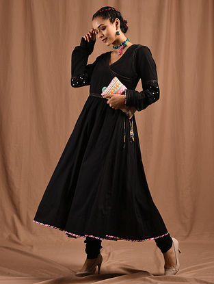 MAHAJABEEN - Black Cotton Mul Angrakha with Multicolored Top Stitch