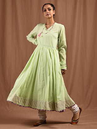 MADNO - Green Cotton Mul Angrakha with Multicolored Top Stitch