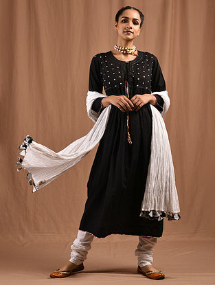SAYONEE - Black Cotton Mul Kurta with Multicolored Embroidery
