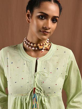MAAHRU - Green Cotton Mul Kurta with Multicolored Embroidery