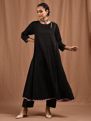 HOOR - Black Cotton Mul Kalidar Kurta with Multicolored Top Stitch