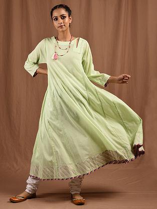 PIHARAVAA - Green Cotton Mul Kalidar Kurta with Multicolored Top Stitch