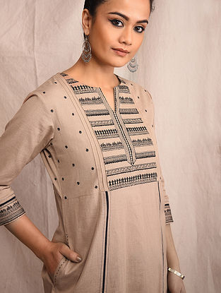 Beige Cotton Embroidered Kurta with Lace