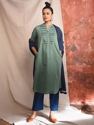 Green Cotton Embroidered Kurta with Lace