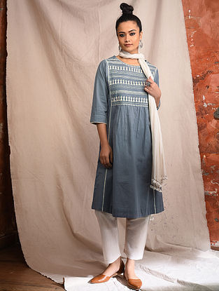 Grey Cotton Embroidered Kurta with Lace