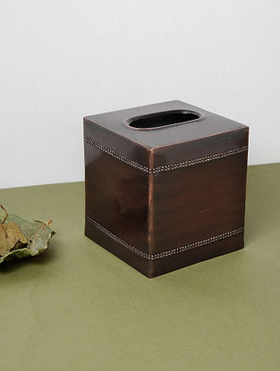 Copper-plated Stainless Steel Tissue Box (L:5in, W:5in, H:5.5in)