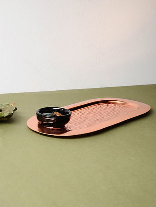 Copper-plated Stainless Steel Tray (L:11.2in, W:6in)