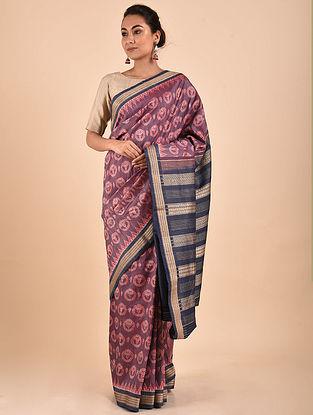 Purple-Black Natural Dyed Ikat Silk Saree