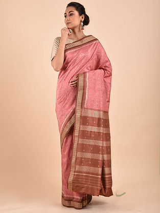 Pink-Brown Natural Dyed Ikat Silk Saree