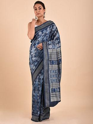 Blue-Ivory Natural Dyed Ikat Silk Saree