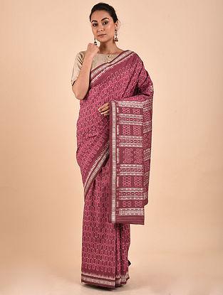 Purple-Ivory Natural Dyed Ikat Silk Saree