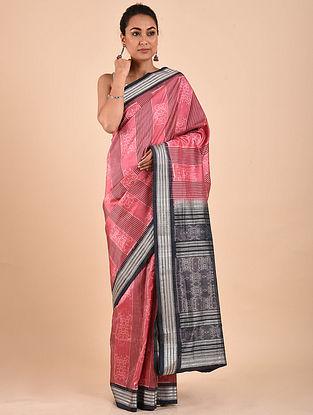Pink-Black Natural Dyed Ikat Silk Saree