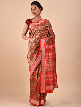 Brown-Orange Natural Dyed Ikat Silk Saree