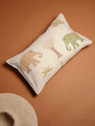 Multicolored Embroidered Cotton Linen Cushion Cover with Patch Work (20in x 12in)