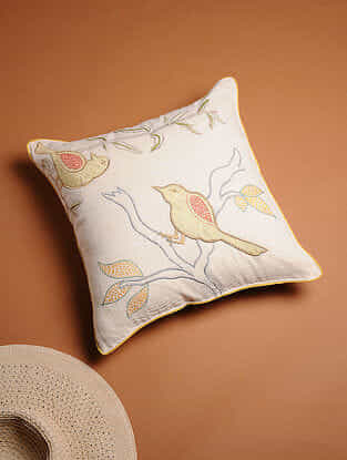 Multicolored Embroidered Cotton Linen Cushion Cover with Patch Work (16in x 16in)