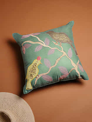 Multicolored Embroidered Cotton Silk Cushion Cover (16in x 16in)