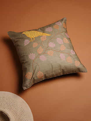 Grey-Multicolored Embroidered Cotton Silk Cushion Cover (16in x 16in)