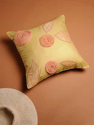 Yellow Embroidered Cotton Silk Cushion Cover (16in x 16in)