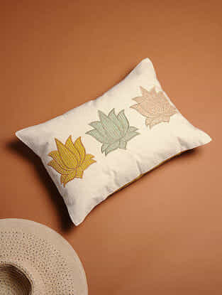 Multicolored Embroidered Linen Cushion Cover with Patch Work (17in x 12in)