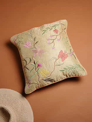 Multicolored Embroidered Khadi Silk Cushion Cover (16in x 16in)