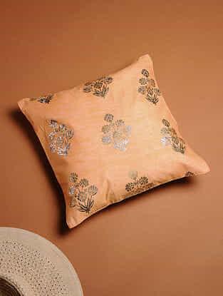 Orange Foil-printed Silk Cushion Cover (14in x 14in)