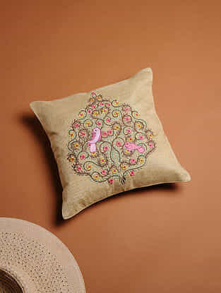 Orange Embroidered Silk Cushion Cover (12in x 12in)