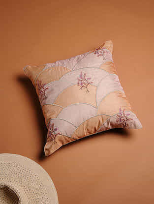 Multicolored Embroidered Organza Cushion Cover with Patch Work (15in x 15in)