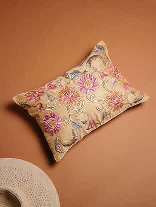 Multicolored Embroidered Silk Cushion Cover with Mughal Motifs (17in x 12in)