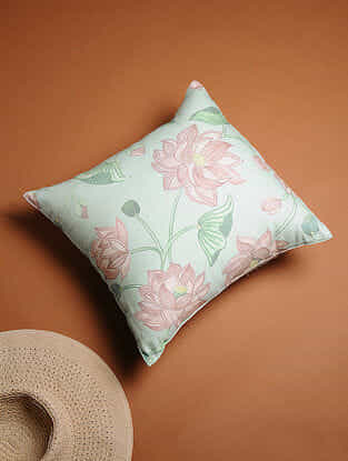 Multicolored Hand-painted Cotton Linen Cushion Cover (16in x 16in)