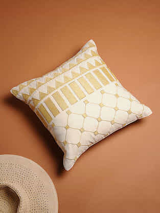 White Embroidered Cotton Cushion Cover (16in x 16in)