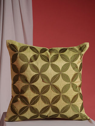 Beige and Green Hand Embroidered Linen and Jute Cushion Cover (16in x 16in)